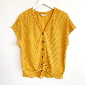 BOGO! Listicle Tie Front Button Ribbed Mustard Top